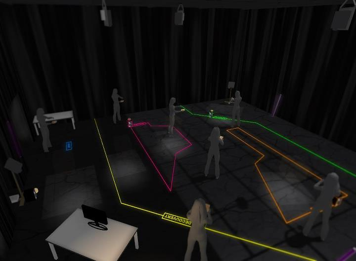simulation 3D de la scénographie par Frederick Thompson